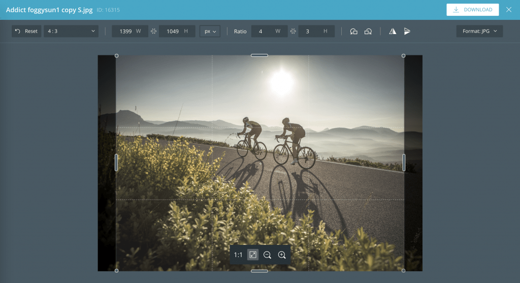 The CELUM image editor offers simple image editing options