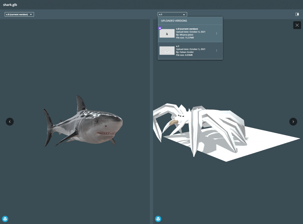 Showing two different versions of a 3D file in the comparison mode